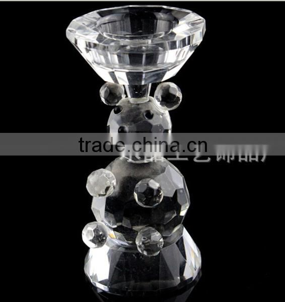 Cute Crystal Bear Figurines Candle Holder For Christmas Decoration