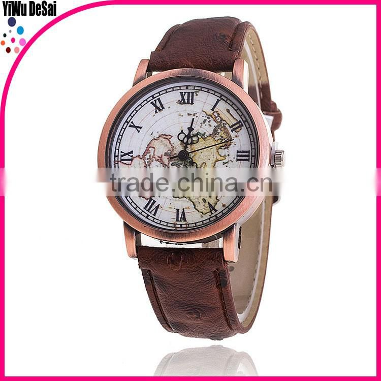 New Women Men Vintage Earth World Map Watch Alloy Analog Quartz Leather Wrist Watches Gifts High Quality