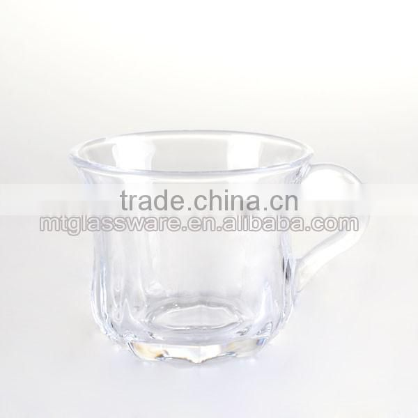 machine made ice coffee glass cup with handle