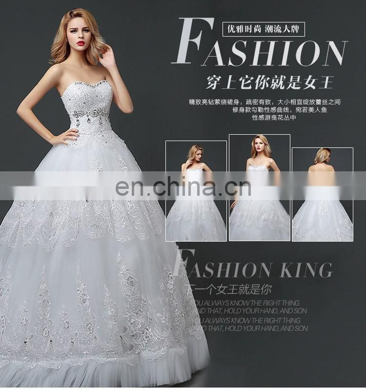 HS1618 New Luxury Sexy Sweetheart Strapless Applique Beaded Chapel train Tulle Wedding Dresses Wedding dress Bridal Gowns Dress