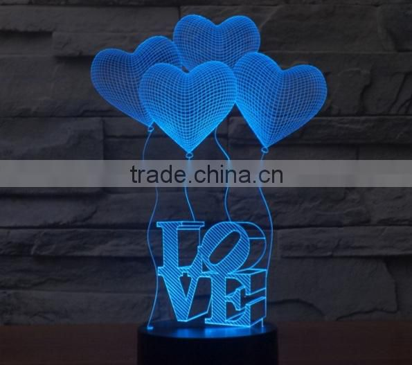 13-Led Night Light 3d Heart Balloons With Love Word Romantic Style Led Desk Lamp Bedroom Hotel Led Table Decor Lamp