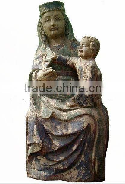 Antique wooden carving religion Virgin Mary statue