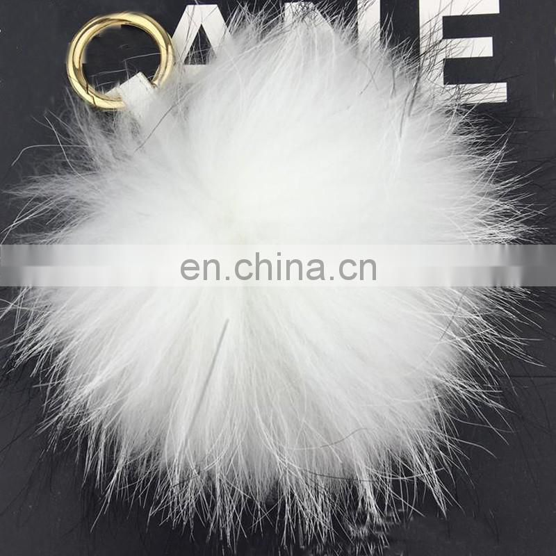 Super big full raccoon fur ball keyring for car real fur accessory bag charm