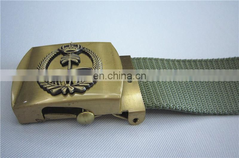 military web belt,gold buckle with emblem