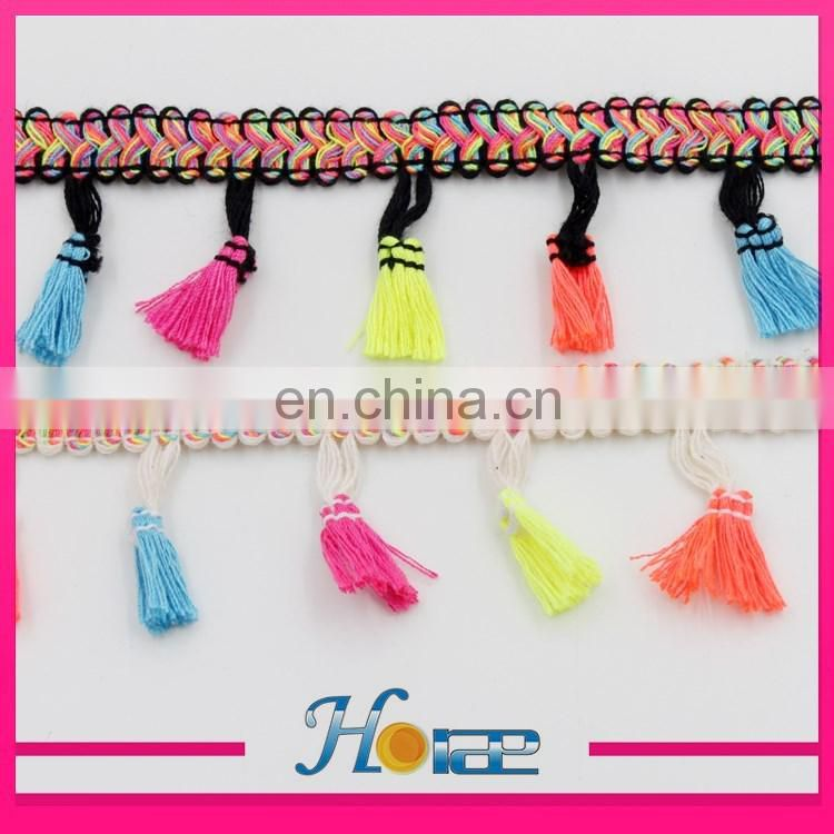 factory price pom pom chain mixed colors lace trimming tassel fringe trim