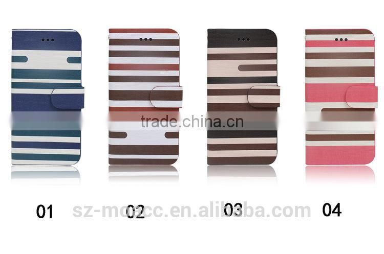 Stripe Style flip stand leather case for lg l70