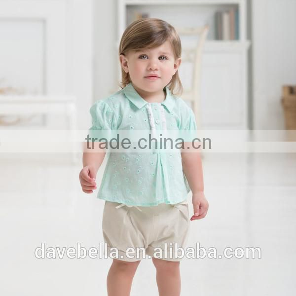 DB629 dave bella 2014 summer fashion beautiful blouses imported brand clothes cotton candy clothing brand baby girl shirts