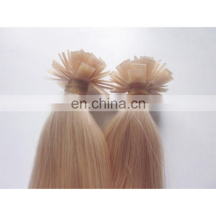 Wholesale 2018 Best Quality 100% Human Hair Flat Tip Hair blonde