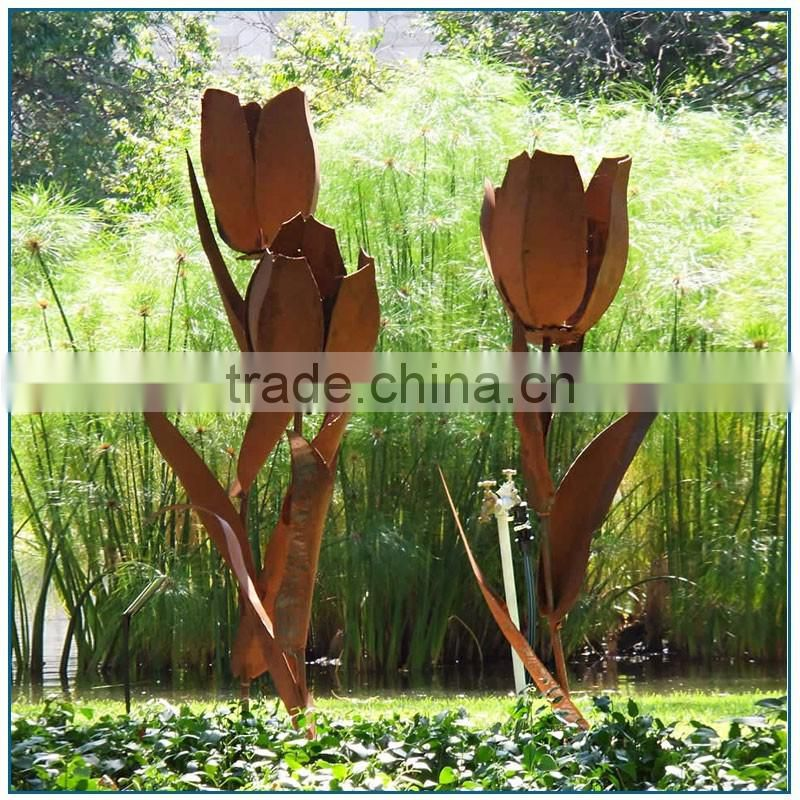 Old look Large Size Corten Steel Flower Sculptures