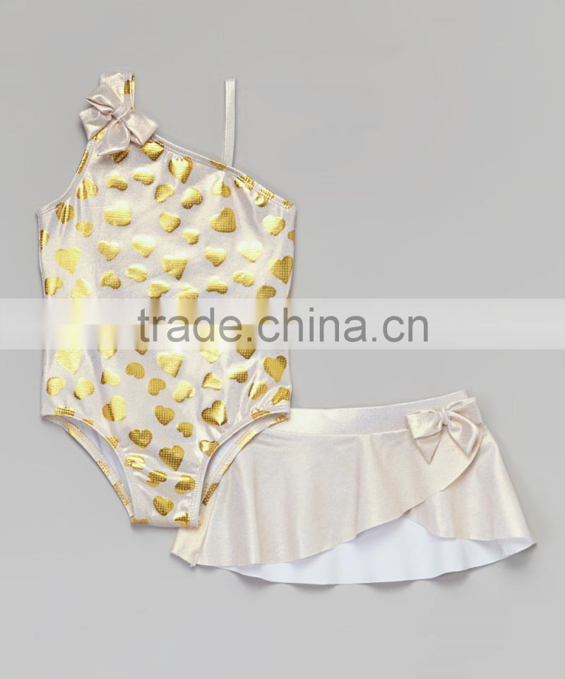 New Style Girl Swimsuit With Gold Heart One-Piece Swim Skirt Girl Beachwear Kids Clothing G-NP-TR905-325