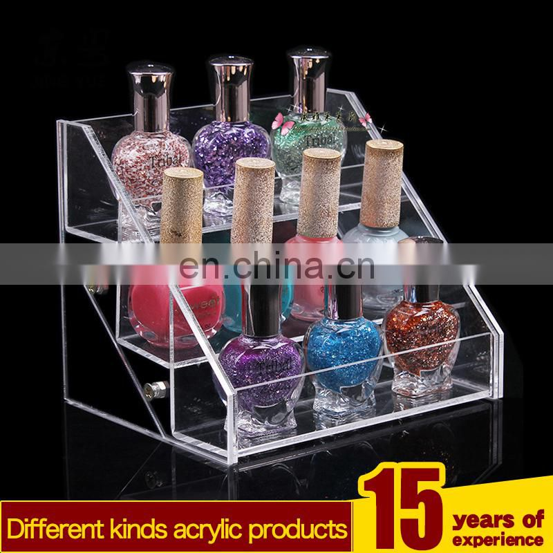 3 tiers clear pmma plexiglass nail polish holder acrylic nail polish display shelf