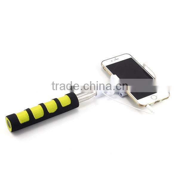 2015 The new belt line folding mobile phone selfie stick Q1,wire insert monopod, no need BT,no need battery&charge,easy control