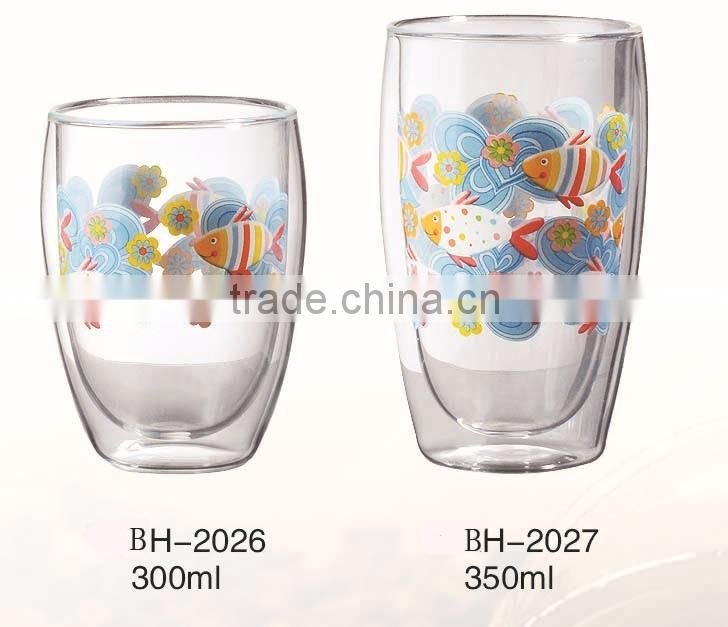 CE/EU/FDA/SGS/LFGB MOUTH BLOWN DOUBLE WALL GLASS CUP FOR COFFEE/TEA/WATER/BEER/JUICE WITH DECAL