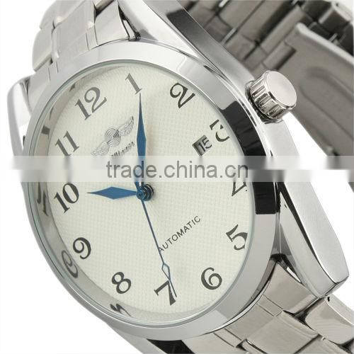 New Men's Fashion Elegant Automatic Mechanical Analog Men Stainless Steel Strap Wrist Watch WM241