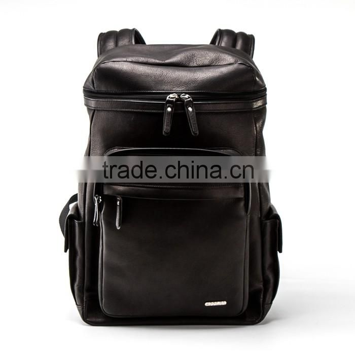 Supplier Leather 2016 Top Sale Custom Printing Genuine Leather Backpack