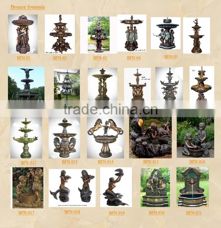 Garden Bronze Boy & Girl & Umbrella Fountain GBF-C016V