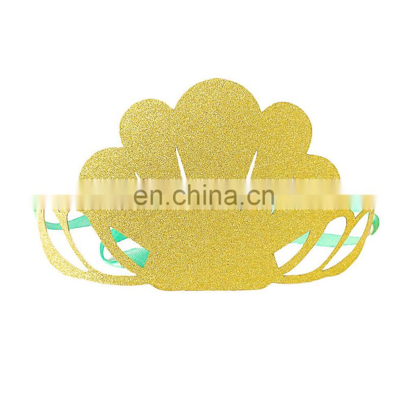 Birthday party and mermaid party favor gold glitter paper mermaid crown for mermaid party decoration