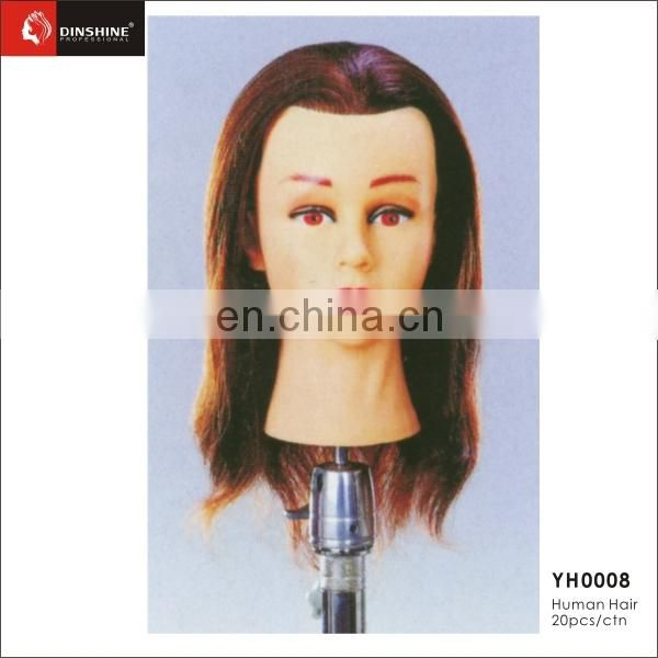 Long Real Human Hair Brown Hairdressing Training Head Mannequin