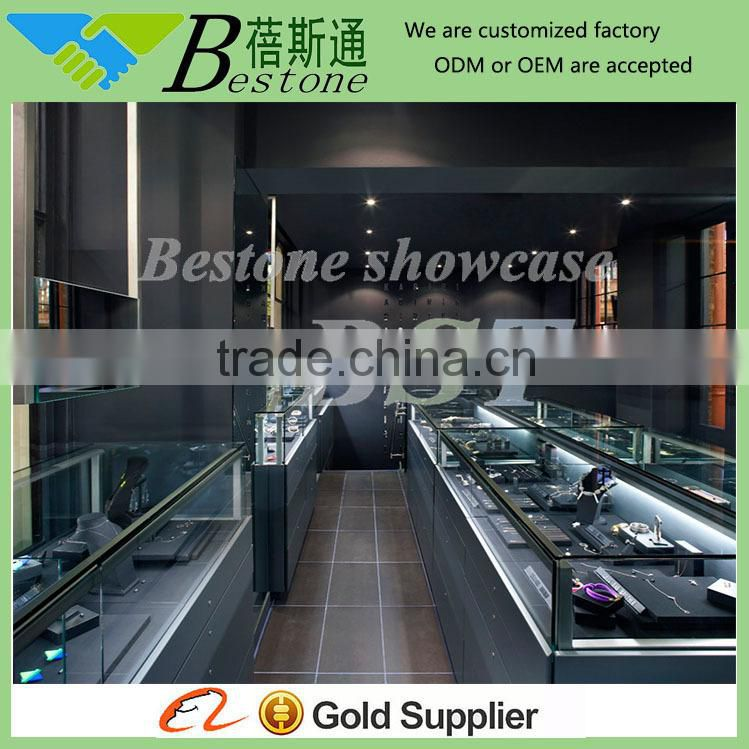 China manufacture of showcase for jewelry shop,copper plating glass jewelry display cabinet