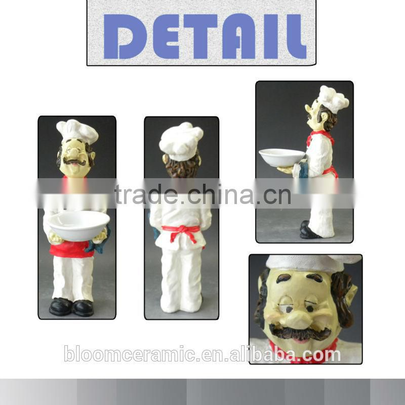 Resin statue fat chef serving bowl