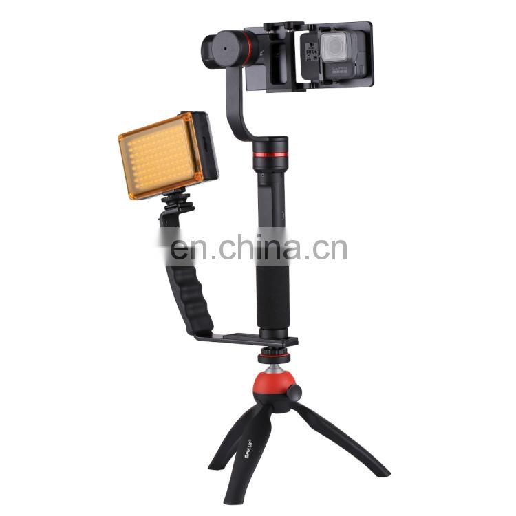 PULUZ G1 3-Axis Stabilizer Handheld Gimbal with Clamp Mount and Tripod Holder + L-Shape Bracket + LED Studio Light + Video Shotg