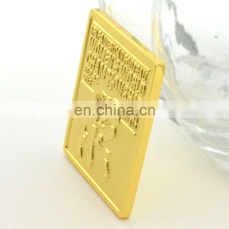Rectangle shape metal gold coins personalized