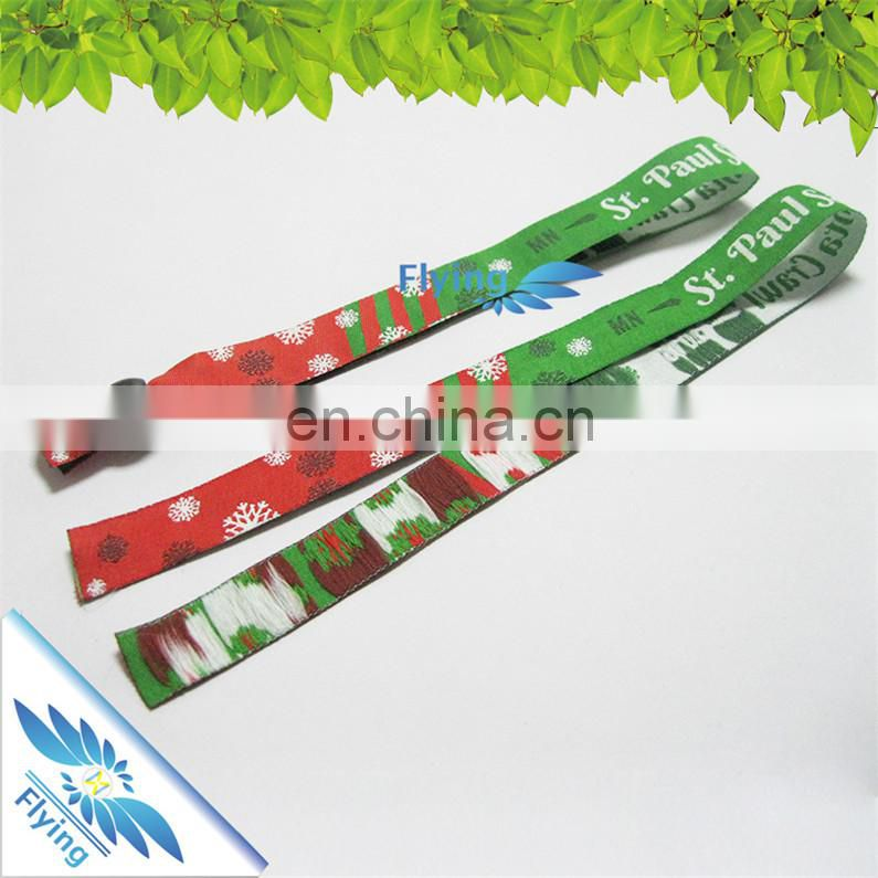 Jacquard cloth bracelets, promotional low price wristband with snap closure, woven wristband price