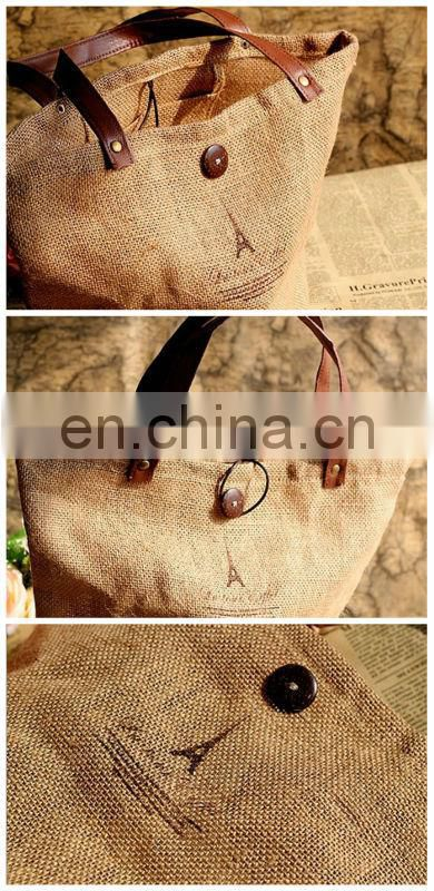 fashion print jute tote bags wholesale