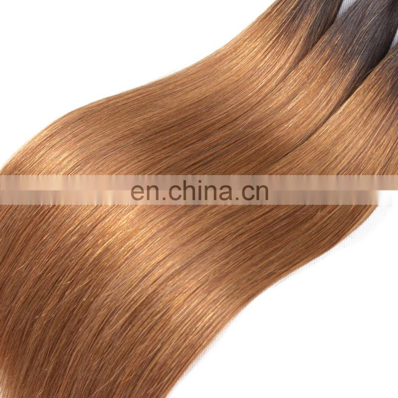 Fashion products 1b/30 ombre hair two tone ombre colored 100% human hair weave bundles beauty young girls favorite