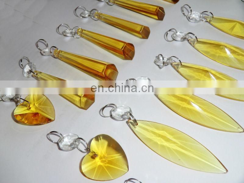 CHANDELIER GOLDEN YELLOW GLASS DROPLETS