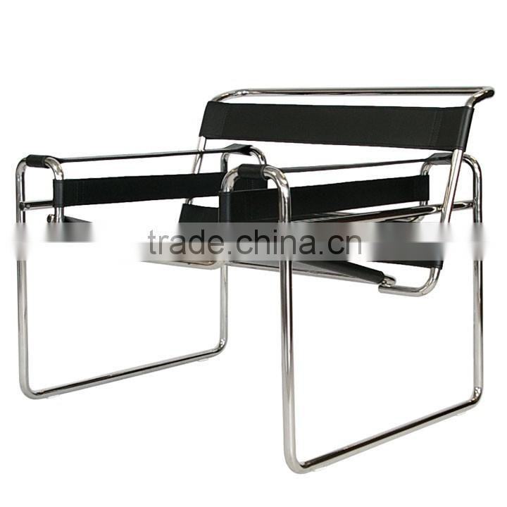 ... Replica German Design Chairs Stainless Steel Elegant PVC/Genuine  Leather Marcel Breuer Wassily Chair ...