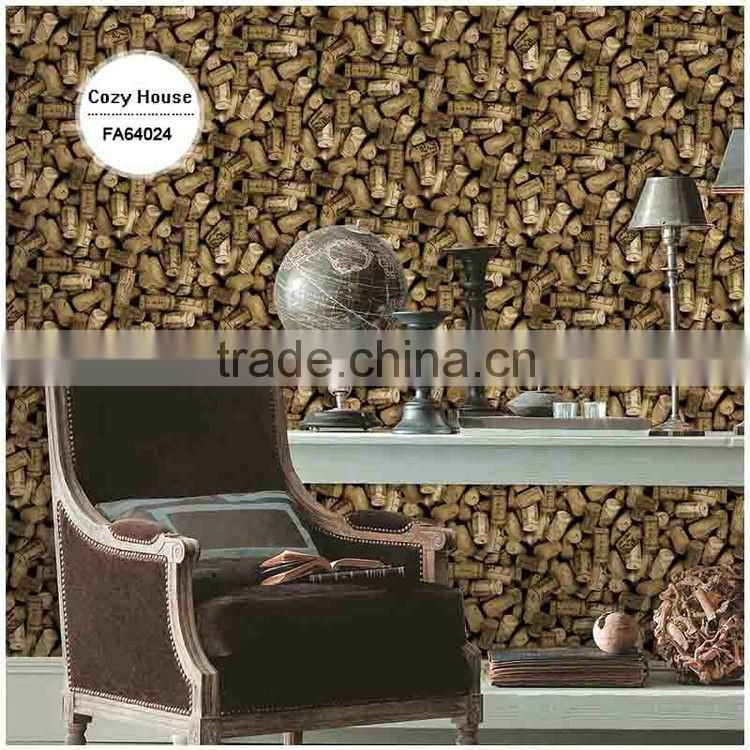 sale printing vinyl coated wallpaper, brown stylish 3d wall paper for home decor , decorative wallcovering price