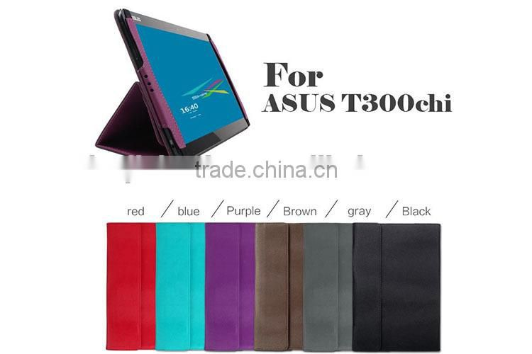 New Product PU leather stand protective case for Asus Transformer Book T300 Chi, 12.5'' book case for asus t3 chi