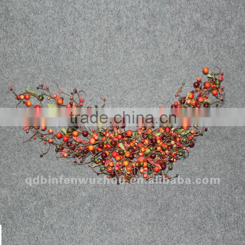 New arrival Artificial Florals and Apple Berries Wreath,artificial fruit collections