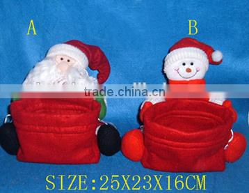 holiday items/ Christmas gift polyester snowman candy container/ Christmas decoration