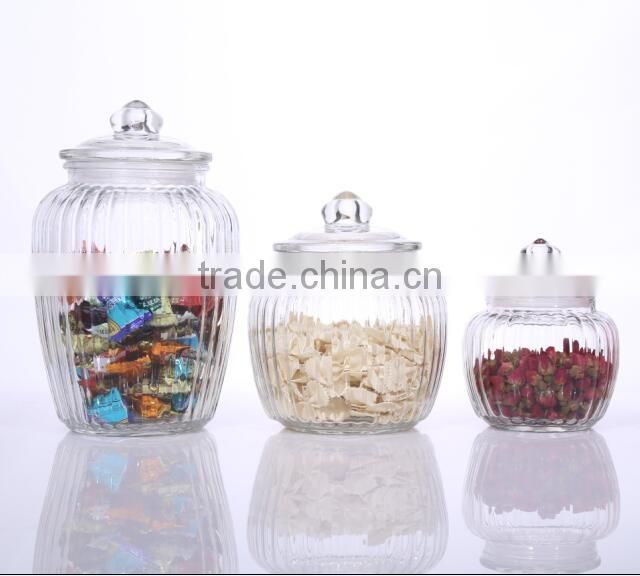 Set 3 Clear Large Antique Glass Storage Jars with Airtight Glass Lid