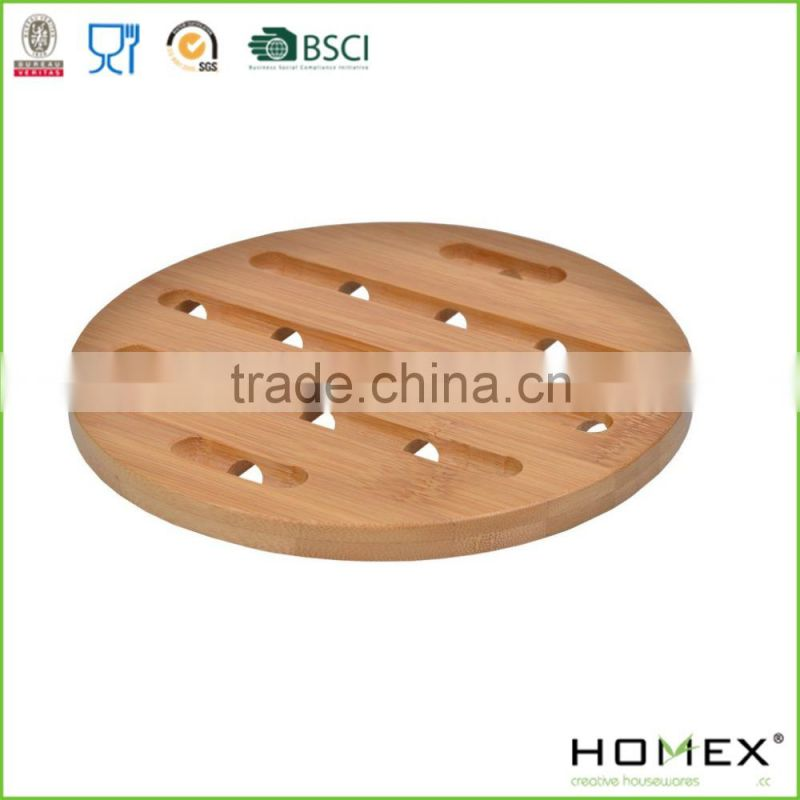 Round Bamboo Trivet and Coaster/Cup Mat/Homex_FSC/BSCI Factory