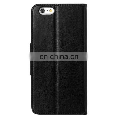 HAWEEL Magnetic PU Leather Case with Holder & Card Slots for iPhone 6 Plus(Black)