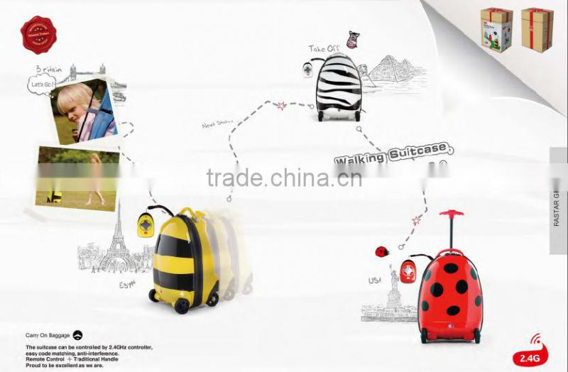 Cute ladybug design kids children remote control trolley hard case travel luggage case