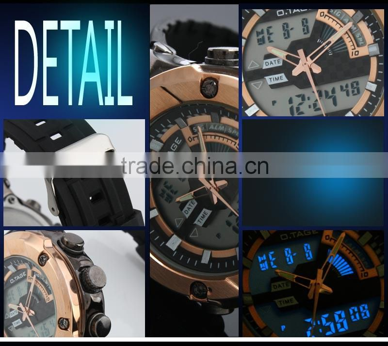 2016 Men's Rubber Strap Analog Digital Dual Display Sport Digital Watch With Gold Face WS069