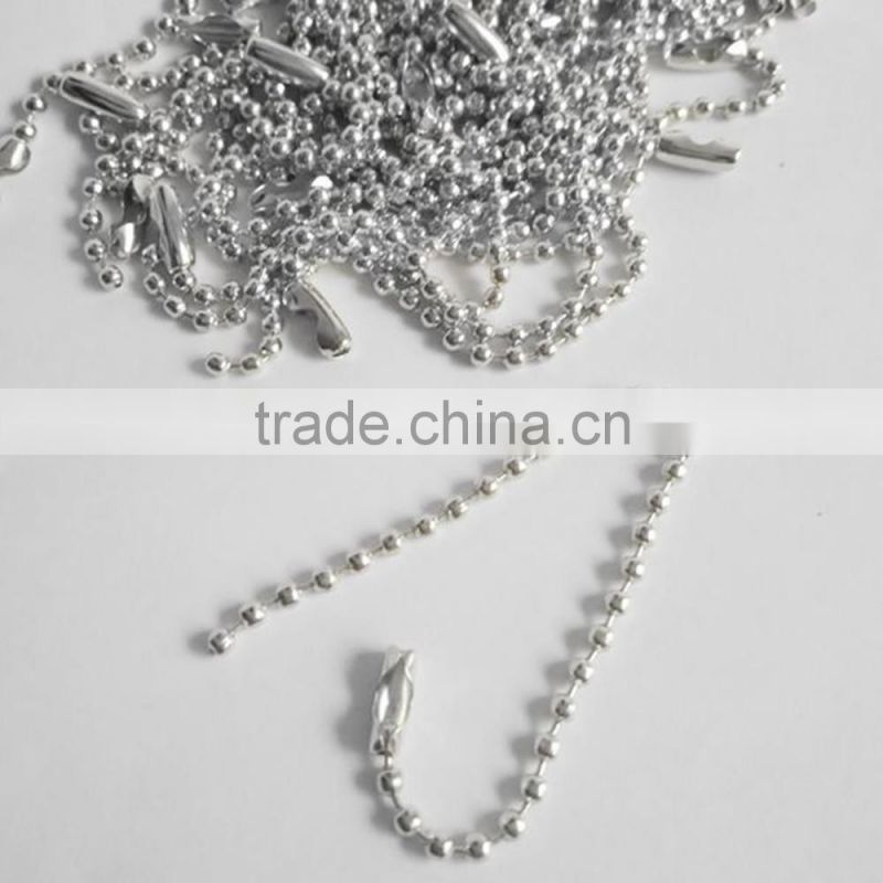 2017 new 1000PCS/bag 8cm 10cm 12cm 15cm rhodium dull silver color 2.4mm Ball Bead Chains Link with Connector For Key Chains