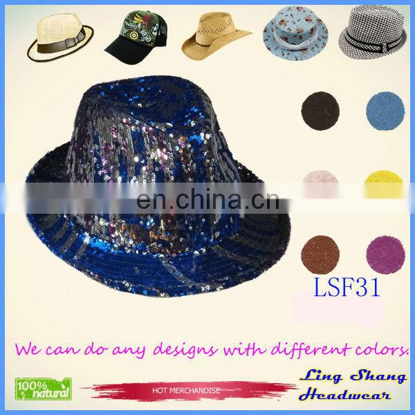 LSF42 Ningbo Lingshang Hot Sale Full Sequins Cotton/Polyester Fedora floral bucket hat