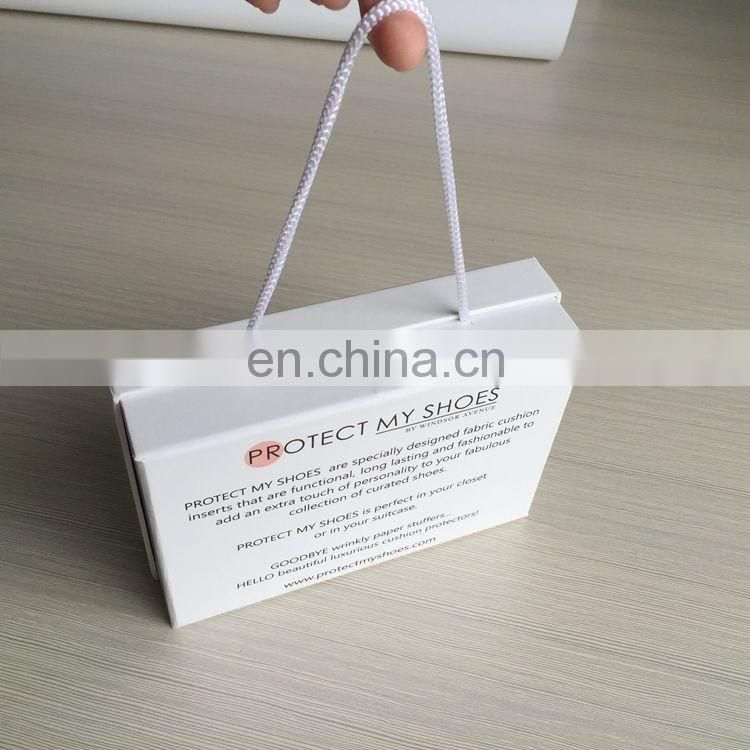 High-end nice quality white clear shoe box with handle