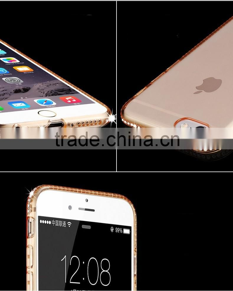 2016 Luxury bling diamond tpu bumper for iphone6 case,for iphone 6 electroplating tpu case,for iphone 6 case cover