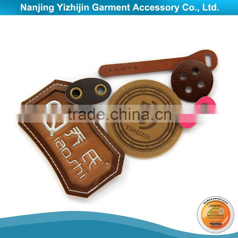 Custom logo leather clothing label with metal plate