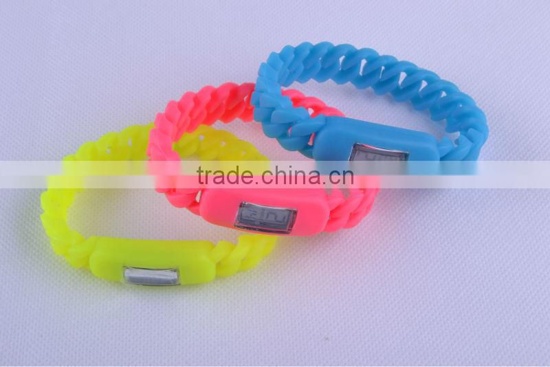 New Arrival 2013 New design braided silicone watch wrist chain bracelet watch led digital silicone bracelet wrist watch