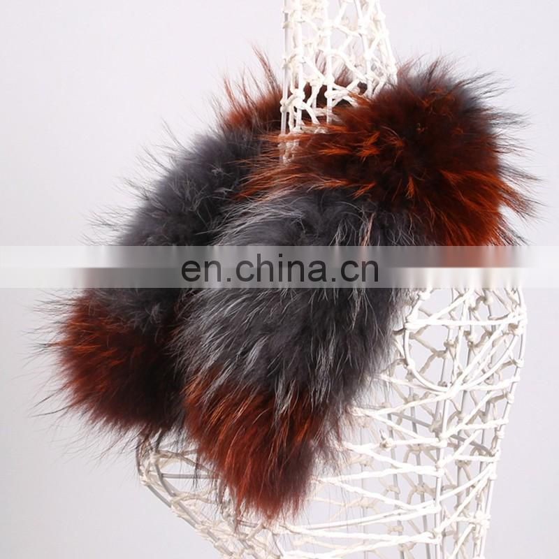 Top grade raccoon fur collar custom phase color fur square collar wholesale