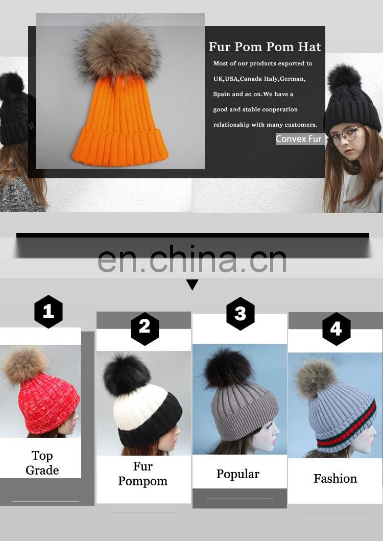 2016 Girls winter knitted fur bobble hat with big genuine raccoon fur bobble