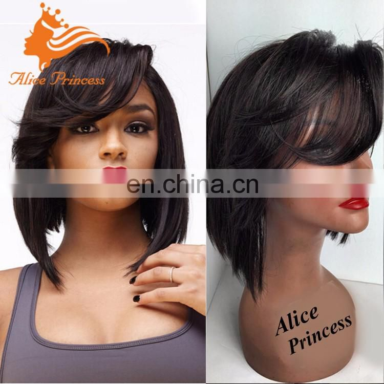 100 Percent Human Hair Low Density Full Lace Wig Bob Style Straight Short Hair Wig Price With Good Quality For Women