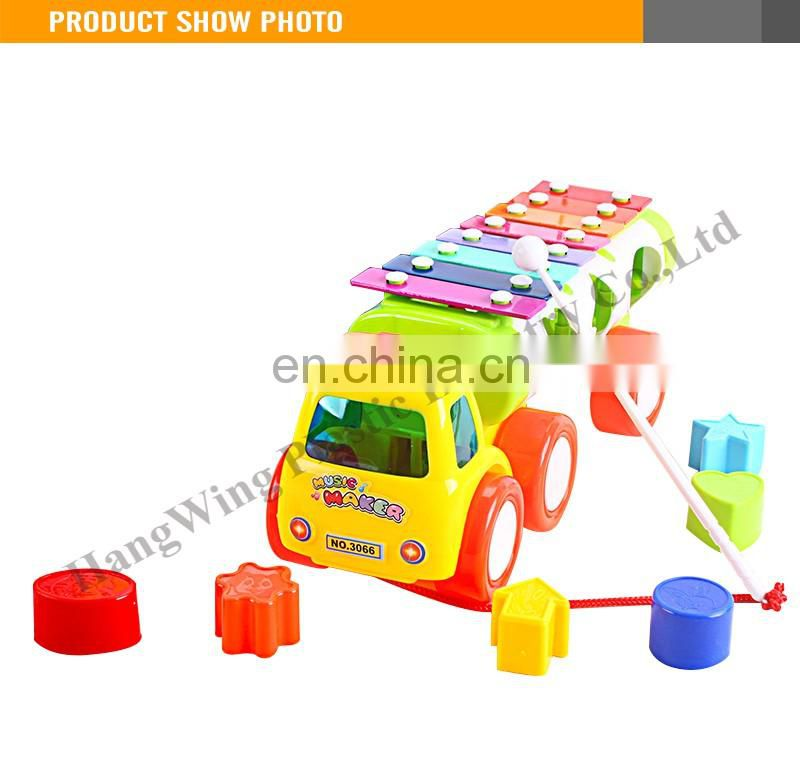 High Quality 27cm Plastic Kid Car Shaped Toy Xylophone With Block